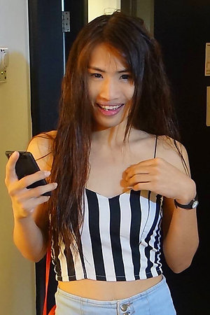 21 year old Thai ladyboy sucks white cock and jerks off for cumshots